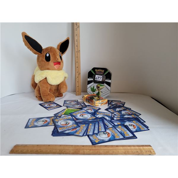 Pokemon collector tin, complete pack of Picachu evolution cards & plush Eevee with moving head.