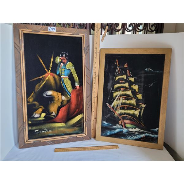 1970's Velvet paintings. Bull and Matador approx. 14X 23. Sailing vessel approx. 13X19