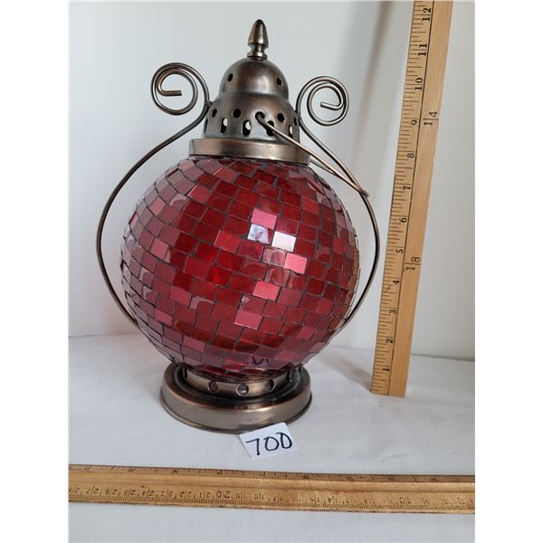 Indoor /outdoor cut glass candle lantern.