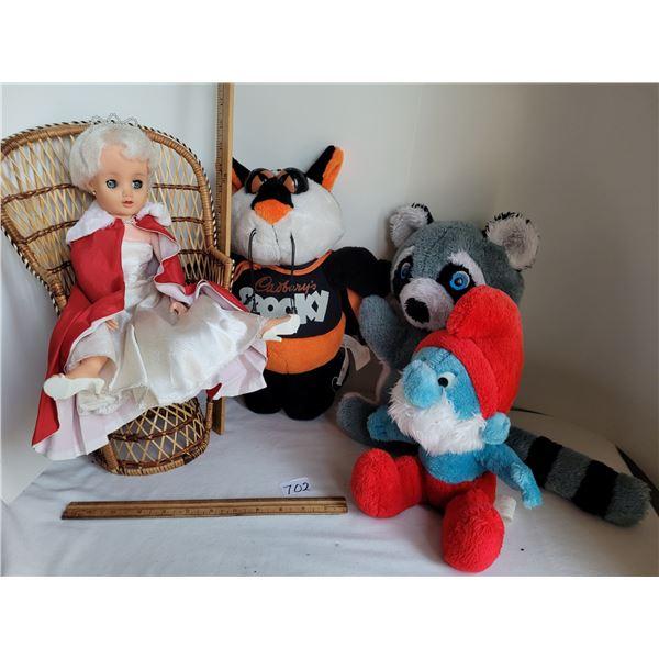 Vintage 1960's Princess doll & wicker fan chair. 1970's plush Papa Smurf, Cadbury Cat & Rocky Racoon