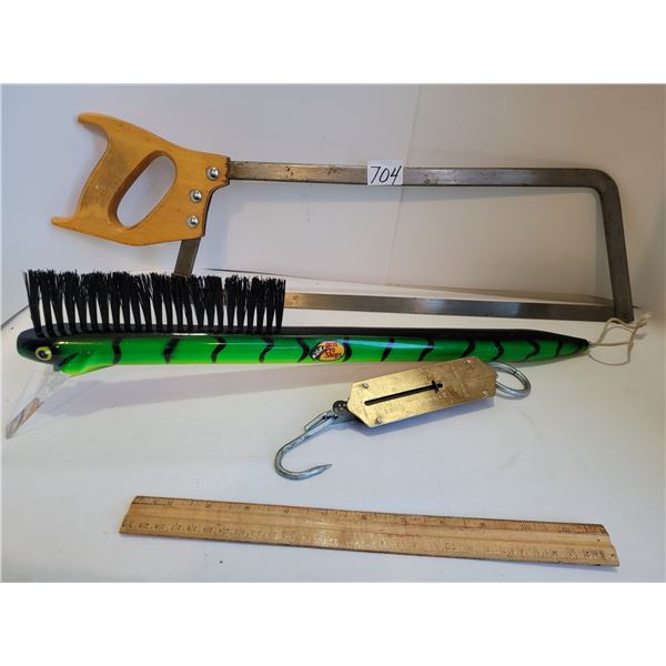 Meat saw, weighing hook & novelty rapala hook ice scraper brush from the Bass Pro Shop.