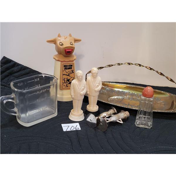 1970's Moo-Cow creamer, KFC Colonel Sander's salt & pepper shakers. Mr. Peanut missing 1 top. Rectan