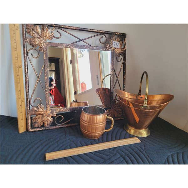 Heavy metal, copper accented mirror. Copper vase and mug, made in italy.