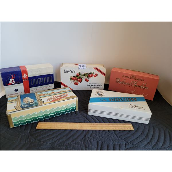 5 vintage chocolate and Taffy candy boxes.