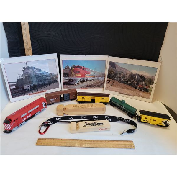 3 Framed 8X10 photos of trains, 5 car, train, 2 train whistles, and CN lanyard.