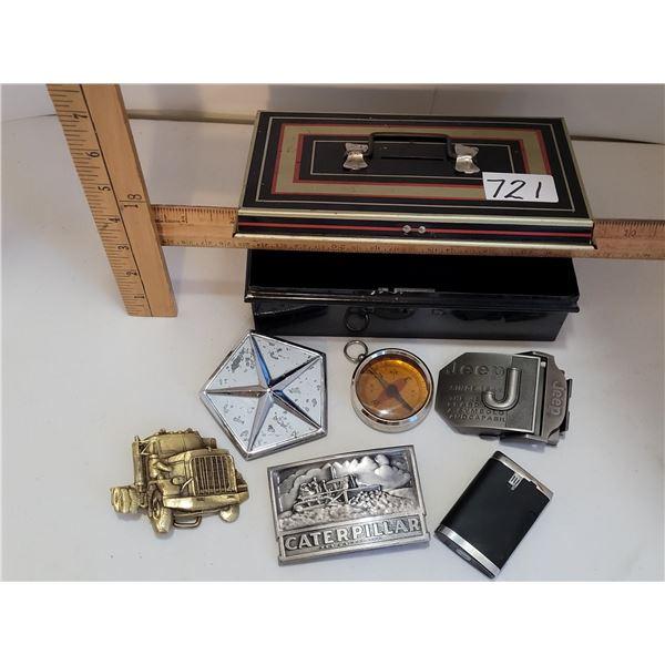Small tin strong box bank, no key. Semi, Caterpillar, Jeep belt buckles. Chrysler symbol, compass &