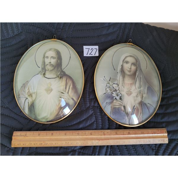 Religious oval, curved glass pictures of Jesus and mother mary.