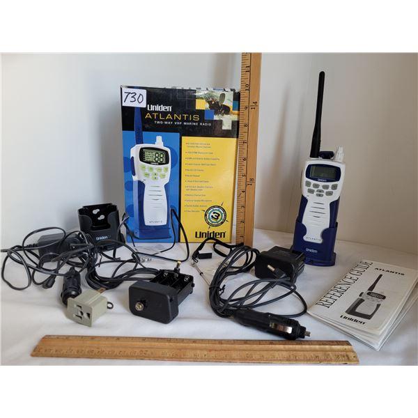 Uniden Atlantis 2 way VHF marine radio & accessories.