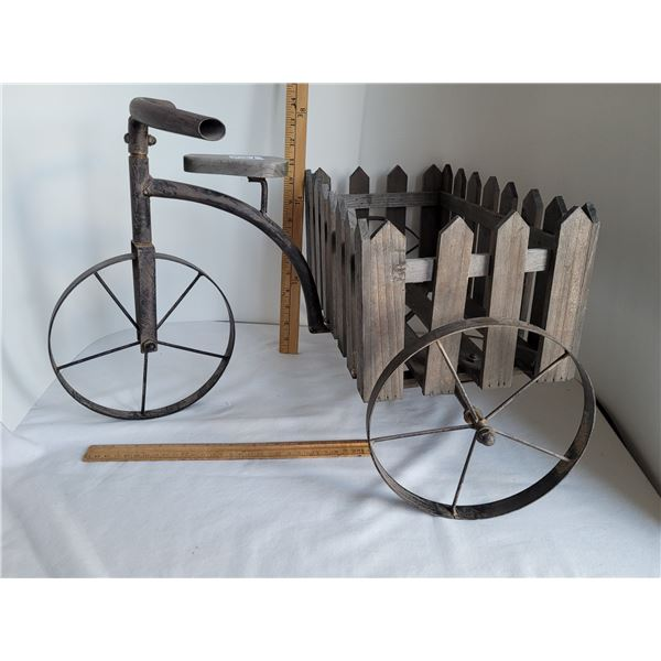 Metal & wood, indoor/ outdoor tricycle for potted plants.