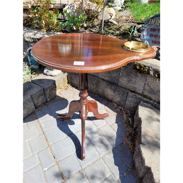 Vintage French provincial smoking table. Wood, heavy brass removable ashtray.