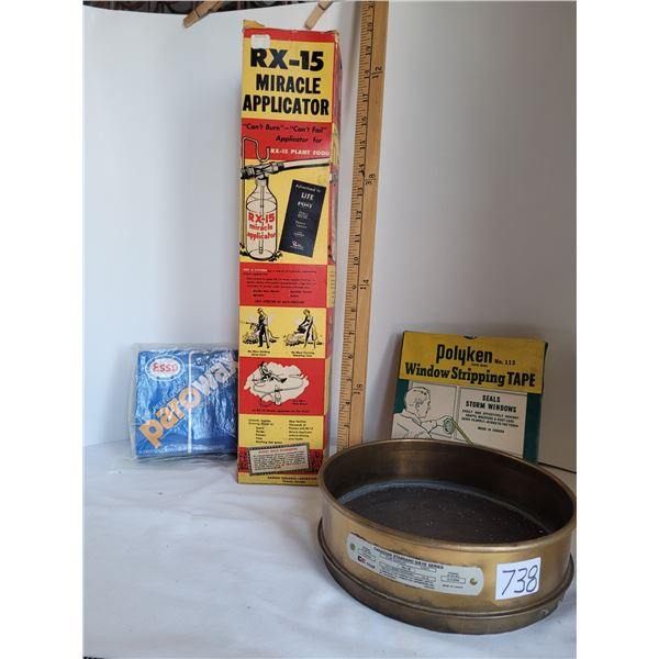 Vintage  RX-15 plant food applicator, Tyler CE grain sieve, Parowax, window stripping tape.