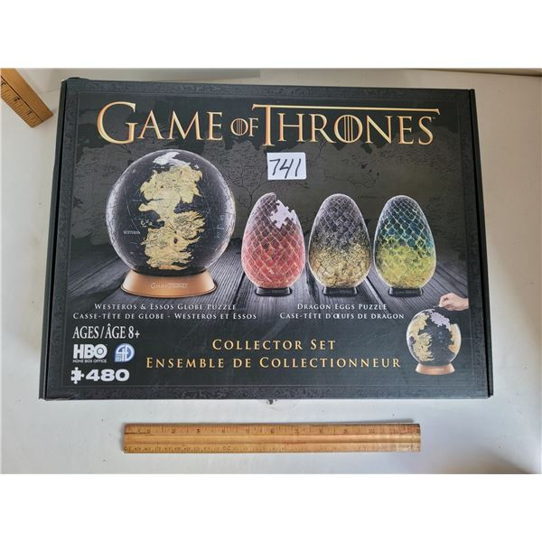 Game of Thrones collector set of 3 3D dragon eggs & globe puzzle.