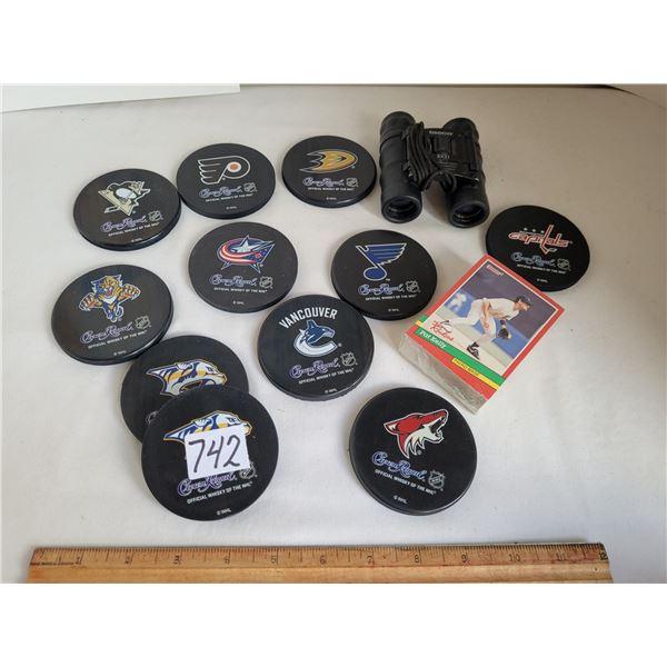 Crown Royal NHL team coasters. Baseball unopened rookie cards. Tasco Binoculars.