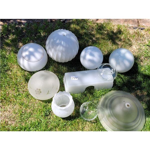 Assorted lamp globes. 3 rose bowls.