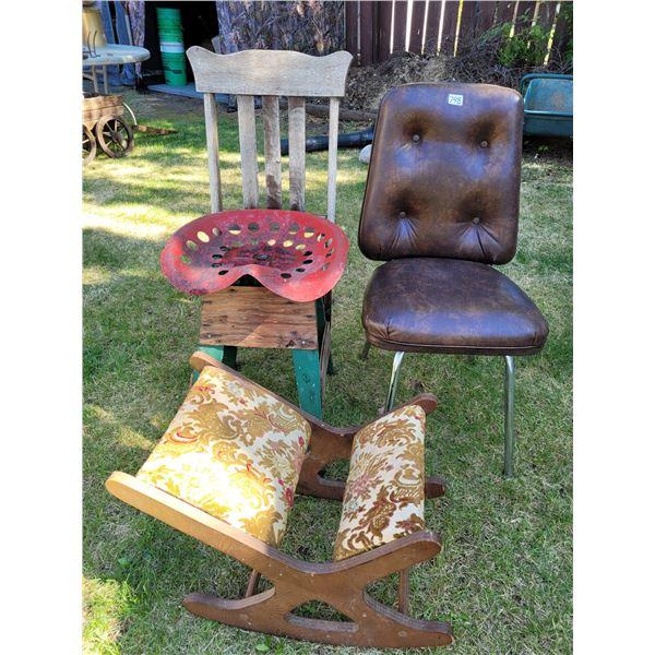 Chrome chair, Primitive farmer work bench chair, Foot rocker for rocking chair.
