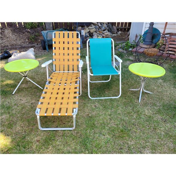 1970's reclining outdoor lounge chair, folding lawn chair, 2 metal outdoor side tables.