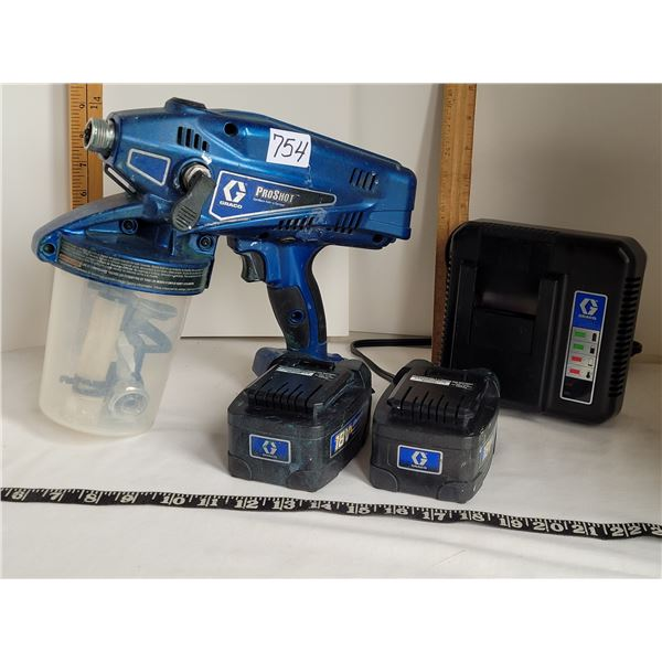 Graco Proshot cordless paint sprayer, charger & 2 lithium ion batteries.