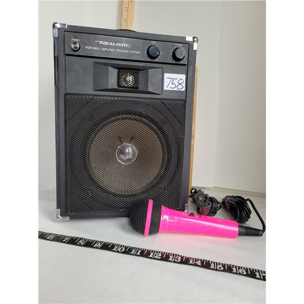 Realistic portable, amplified speaker with a Pink microphone. Works great.