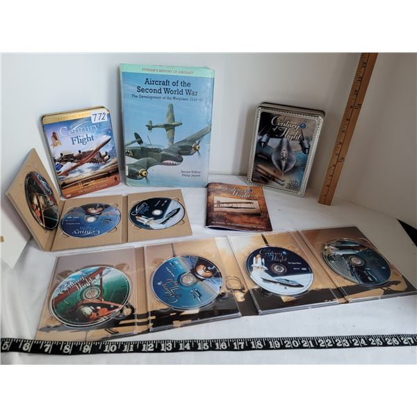 Century of Flight DVD sets. 3 & 5 discs.  WW2 Aircraft Book.