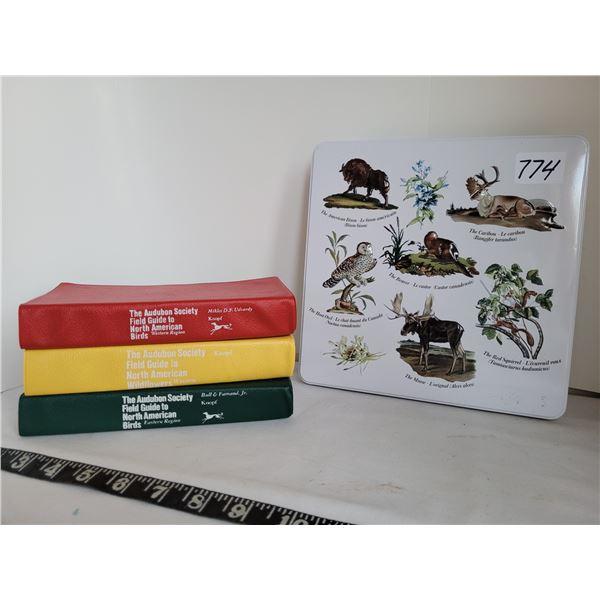 Audubon Society Guide books for Birds & Wild flowers, Hudson's Bay embossed metal tin.