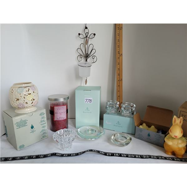 Group of candles & holders. New old stock partylite, vintage Peter rabbit in original box.
