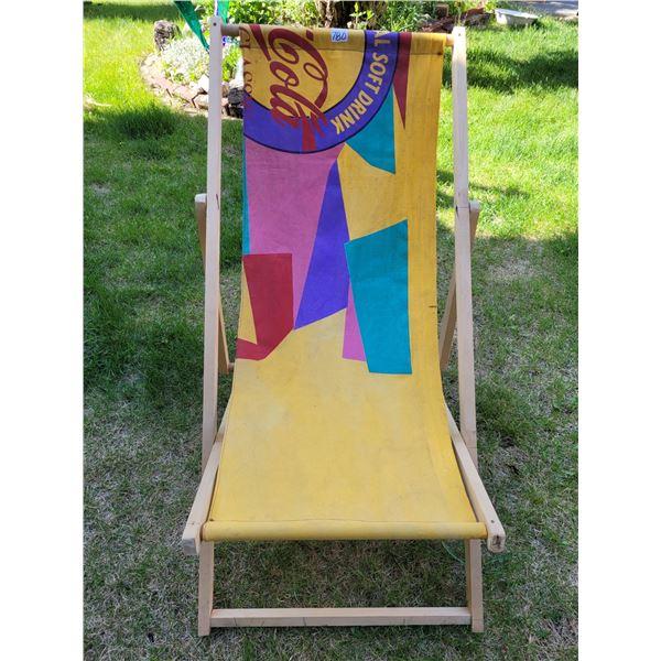 Coca-Cola vintage canvas Beach chair. 3 positions, folds flat.