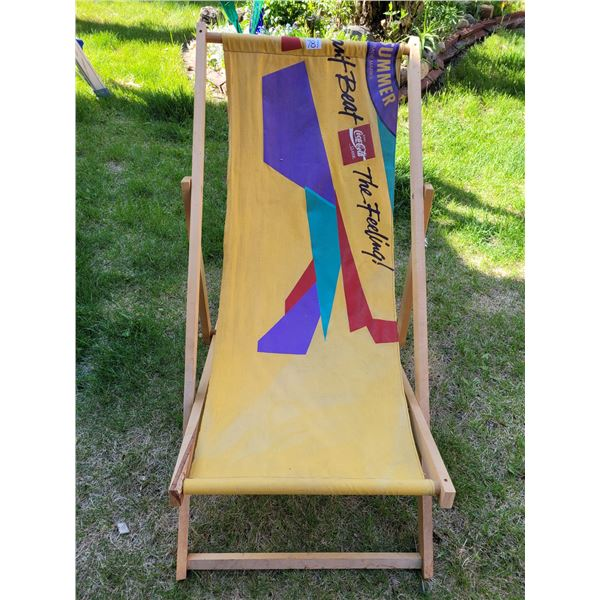 """Vintage Coca-Cola """"Beat the Feeling"""" canvas beach chair. 3 resting positions, folds flat."""