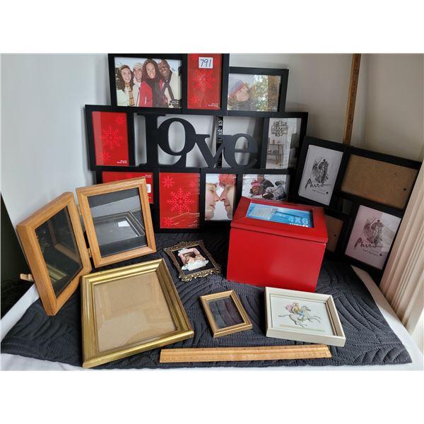 Assortment of photo frames & photo box.