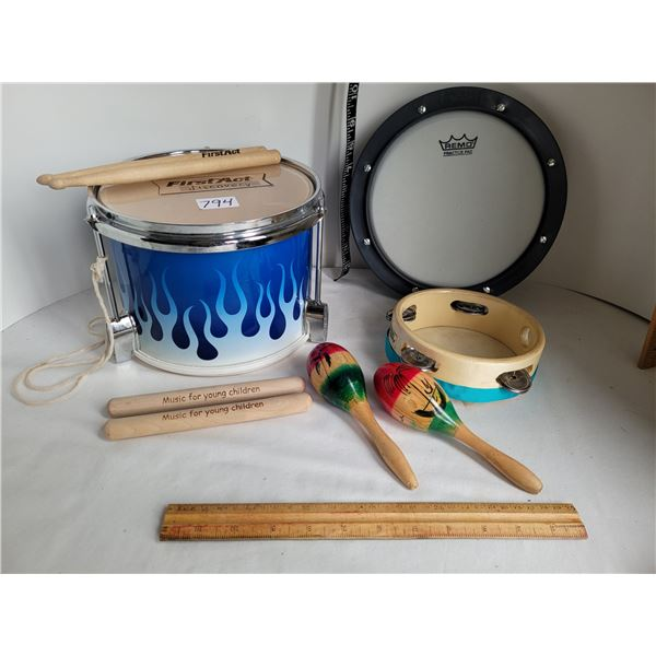 First Act Discovery drum, sticks. Tunable Remo practise pad. stix, tambourine (damaged), maracas.