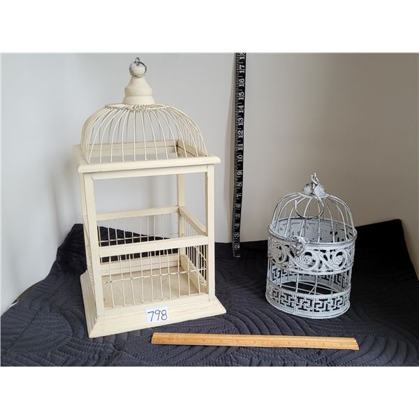 Ornamental cages, sit or hang. 1 wood opens on bottom, 1 metal opens on top.