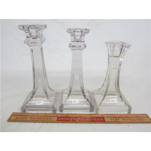 3 Antique Glass Candlesticks tallest 7and 1/2 inches