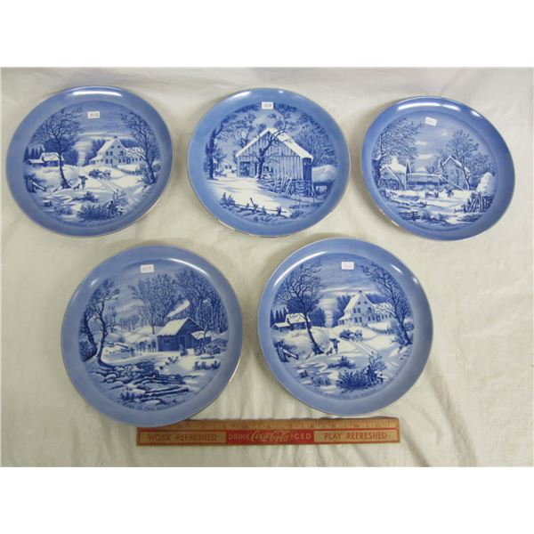 5 Currier and Ives 8 and 1/4 inch Homestead Plates