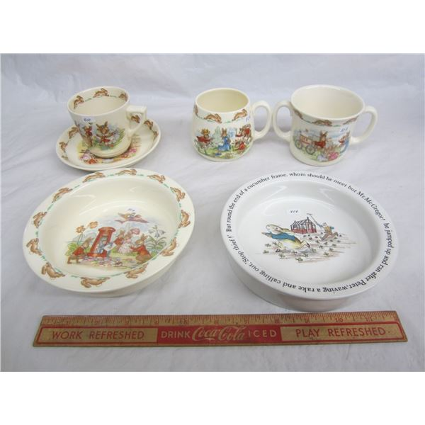 6 Pieces of Royal Doulton and Wedgwood Bunnykins and Peter Rabbit no damage