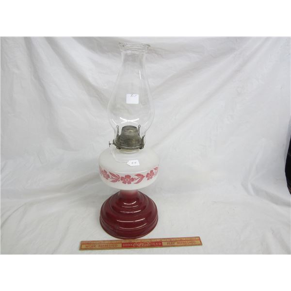 Red and White Oil Lamp complete no damage