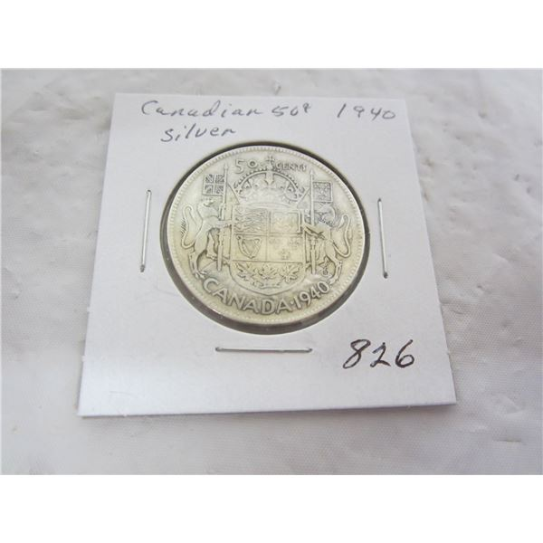 Canadian 1940 Silver Fifty Cent Piece