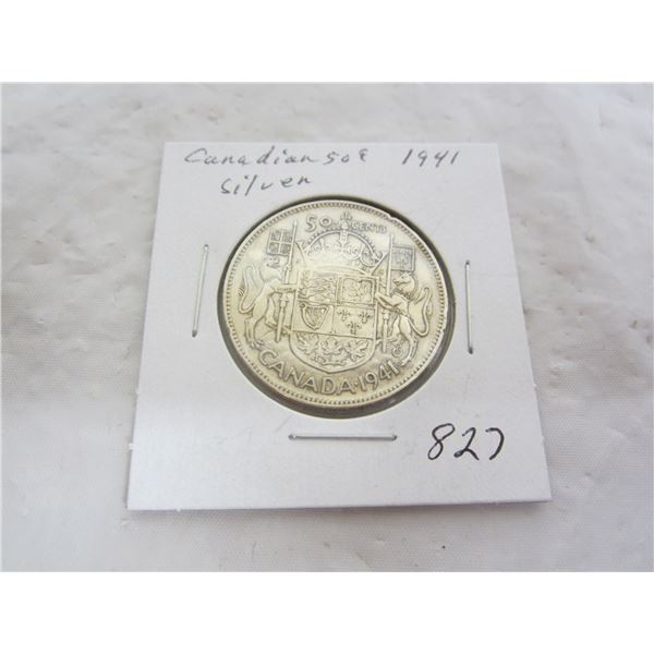 Candian 1941 Silver Fifty Cent Piece