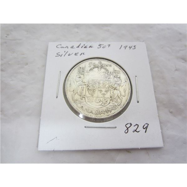 Canadian 1943 Silver Fifty Cent Piece
