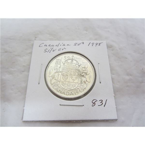 Canadian 1945 Silver Fifty Cent Piece
