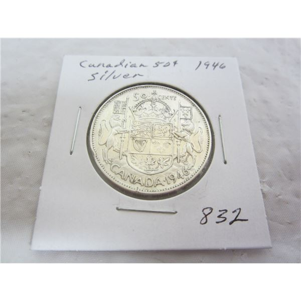 Canadian Silver1946 Fifty Cent Piece