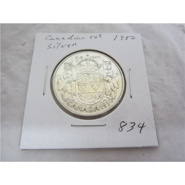 Canadian 1950 Silver Fifty Cent Piece
