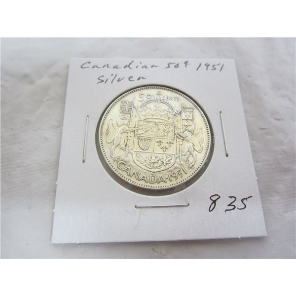 Canadian 1951 Silver Fifty Cent Piece