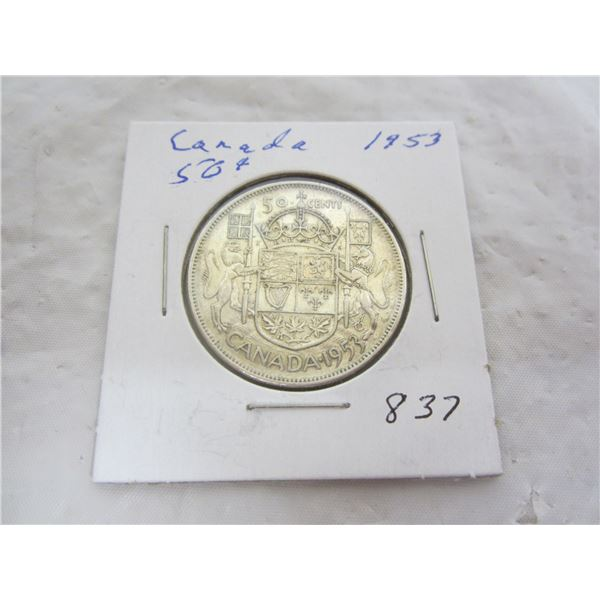 Canadian 1953 Silver Fifty Cent Piece