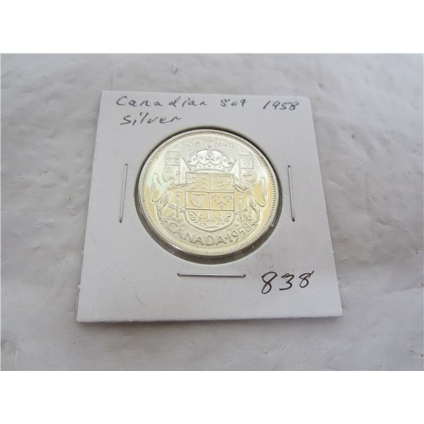 Canadian 1958 Silver Fifty Cent Piece