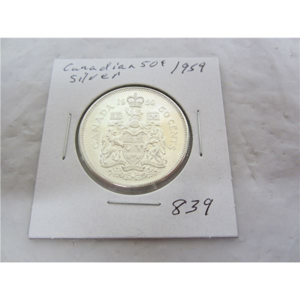 Canadian 1959 Silver Fifty Cent Piece
