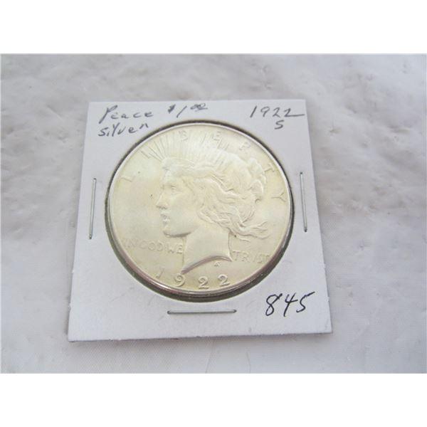 Peace Silver Dollar 1922 S