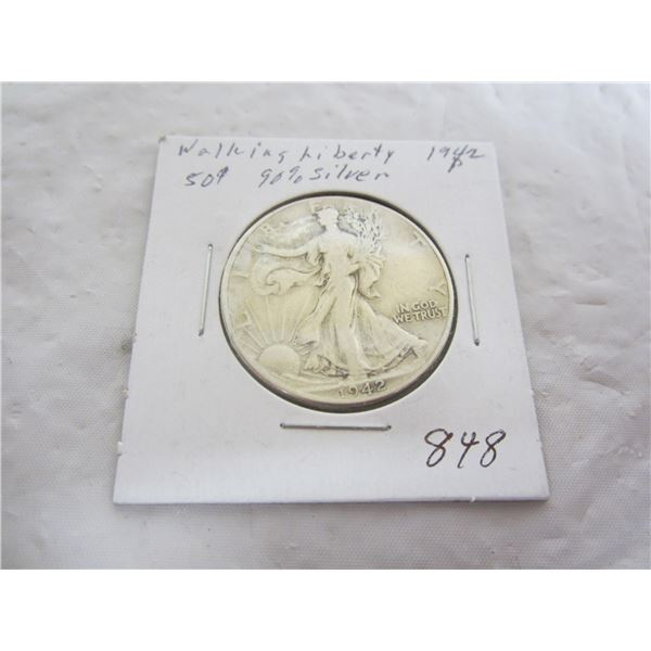 Walking Liberty Silver 1942 P Fifty Cent Piece