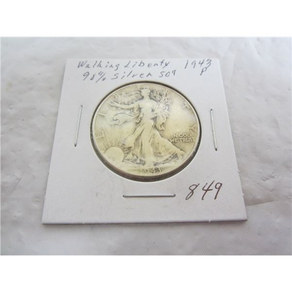 Walking Liberty Silver 1943 P Fifty Cent Piece