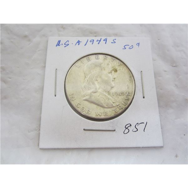 Banjamin Silver 1949 S Fifty Cent Piece
