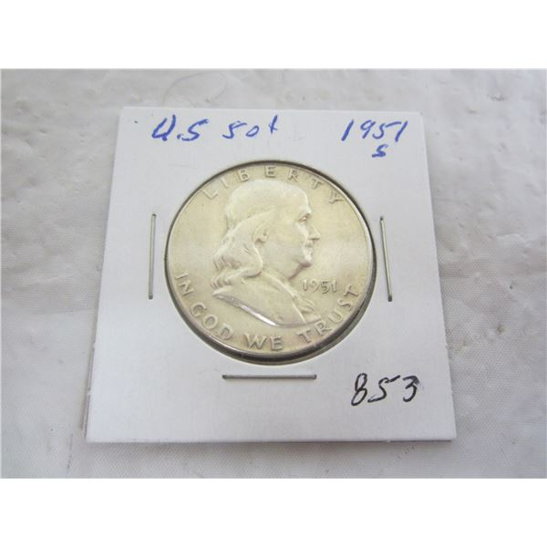 Benjamin Silver 1951 S Fifty Cent Piece