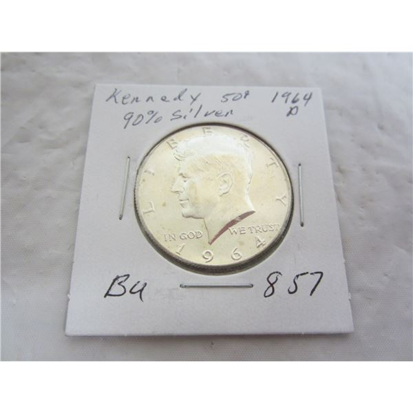 Kennedy Silver 1964 D Fifty Cent Piece